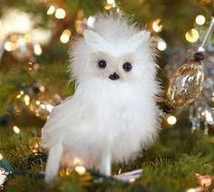 Fluffy Owl Feather Ornament  $12.50 Its so FLUFFY! #pintowinGifts @Gifts.com