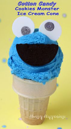 Cookie Monster Cotton Candy Ice Cream Cones