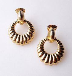 Christian Dior clip on earrings gold-tone door knocker hoops #Dior #Hoop