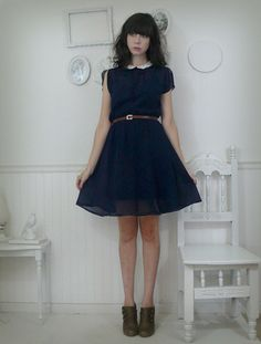 1970s navy tea dress