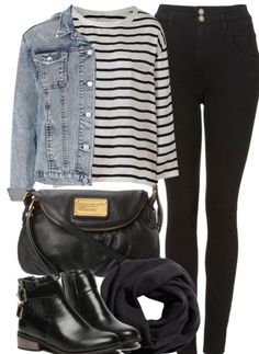 Casual outfit black pants and denim jacket