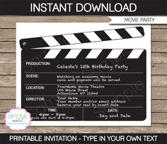 Movie Night Party Invitations | Clapboard | Birthday Party | Editable DIY Theme Template | INSTANT DOWNLOAD $7.50 via SIMONEmadeit.com