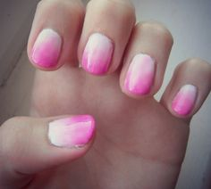Pink to white Nails