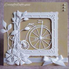 3/20/2013; Debby Yates at 'A Scrapjourney' blog; Penny Farthing card using Memory Box's Vintage Bicycle craft die and Bella Bloom die