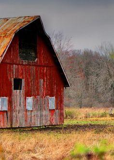 Red Barn Hay Loft Door Open