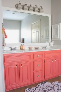 idea for  the guest bathroom cabinets. Would look great with turquoise striped walls rounding out the hip beach feel.