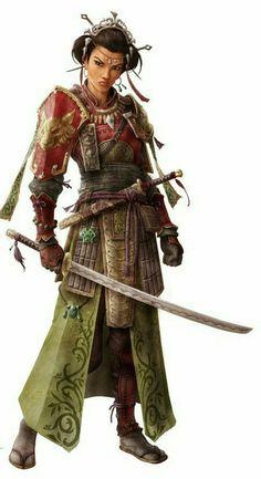 Female Samurai - Pathfinder PFRPG DND D&D d20 fantasy
