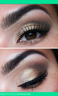 Natural eye shadow, nice combination of brown & gold, think black eyeliner. Great colours, this eyeshadow can be used for day or night! Homecoming Makeup, Prom Makeup, Wedding Makeup, Hair Makeup, All Things Beauty, Beauty Make Up, Hair Beauty, Too Faced Natural Eyes, Natural Eyeshadow