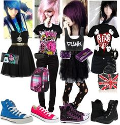 Not found of the outfits (except the black. Gotta love band merch), but I LOVE that purple hair <3                                                                                                                                                                                 More