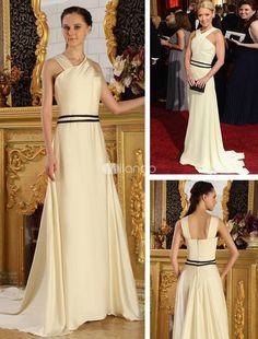 Ivory Elastic Woven Satin Halter A-line Kelly Ripa Oscar Dress. Train Length 10cm. See More Oscar Dresses at http://www.ourgreatshop.com/Oscar-Dresses-C905.aspx