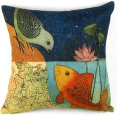 Bird & Fish in the Two World Forever Throw Pillow Case Sham Decor Cushion Covers Square 18*18 Inch Beige Cotton Blend Linen