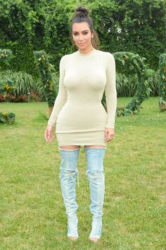 Kim Kardashian in Yeezy Boots - July 16, 2016