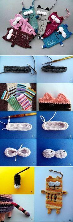 DIY Smaertphone Tasche Katze häkeln - schoenstricken.de