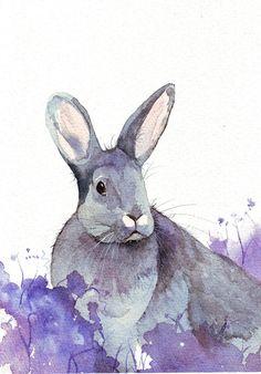 Rabbit Painting~~ print of watercolor art Watercolor Animals, Watercolor Print, Watercolor Paintings, Illustrations, Illustration Art, Bunny Painting, Painting Art, Somebunny Loves You, Rabbit Art