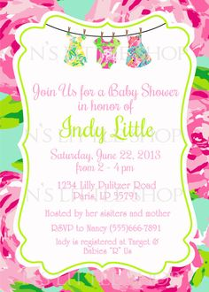 Lilly Pulitzer inspired baby shower invitation card / customize/ printable