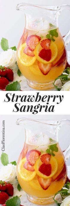 Strawberry White Wine Sangria Recipe with Orange Juice and Honey   CiaoFlorentina.com @CiaoFlorentina