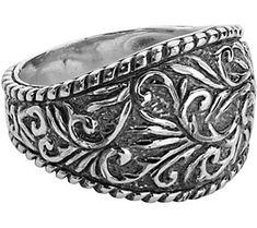 American West Sterling Diamond-Cut Scroll Ring