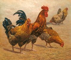 Arnett? I love this barnyard depiction of a rooster and the hens he guarded.