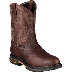 All-conditions Workhog™ with Western flair. Waterproof Pro™ shuts out the wet and snow. Ariat's® ATS Max™ platform provides maximum torsional stability for reduction of foot fatigue and proper body alignment. The sole pairs a lightweight, cushioning EVA midsole with Ariat's®