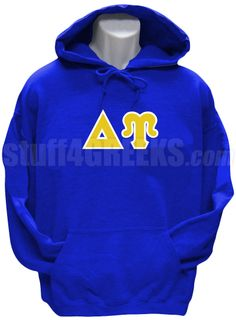 Royal blue Delta Upsilon pullover hoodie sweatshirt with the Greek letters across the chest.