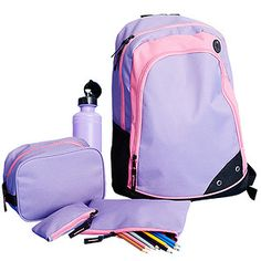 Girls  5 Piece Recess Backpack Set - Pink + Purple  ad4dafe963d30