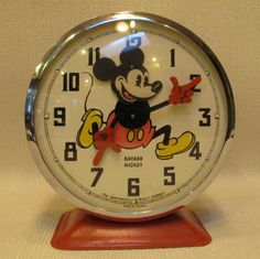 Vintage 1964 Disney Mickey Mouse Bayard French Alarm Clock
