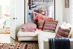 """""""I introduce color and pattern via pillows and rugs, since they're easier to swap out,"""" shiva rose"""