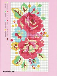 Exclusive Cath Kidston X-stitch design Modern Cross Stitch Patterns, Cross Stitch Designs, Cross Stitch Flowers Pattern, Cross Stitching, Cross Stitch Embroidery, Mochila Crochet, Cross Stitch Love, Crochet Cross, Cath Kidston Crochet
