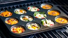 Muffin Pan Eggs on the Grill Recipe Eggs And Mushrooms, Stuffed Mushrooms, Stuffed Peppers, Healthy Grilling, Grilling Recipes, Camping Recipes, Breakfast For Dinner, Breakfast Recipes, Muffin Pan Eggs
