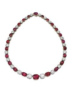 Mary, Duchess of Roxburghe. Rare and highly significant ruby ​​and diamond necklace, late 19th century