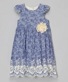Look at this #zulilyfind! Blue Floral Embroidered Angel-Sleeve Dress - Toddler & Girls #zulilyfinds