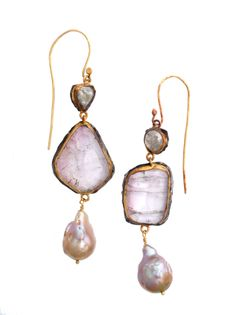 Margery Hirschey  22k gold and oxidized sterling silver with diamond, tourmaline and pearl