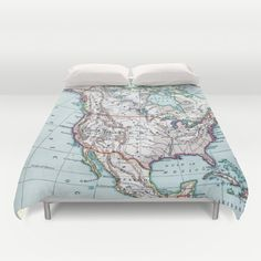 Map of North America Duvet Cover or Comforter  by Mapology on Etsy