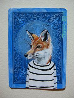 """I'm loving this whimsical """"Red Fox Portrait N14"""" by Juan Estrella."""