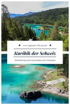 Wanderung vom Caumasee zum Crestasee The Caribbean of Switzerland: Hike from Lake Cauma to Lake Cresta in Graubünden. Europe Destinations, Cool Places To Visit, Places To Travel, Voyage Dubai, Nature Green, Switzerland Vacation, Reisen In Europa, Voyage Europe, Countries To Visit