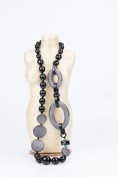 Angela Caputi Long Black & Anthracite Necklace
