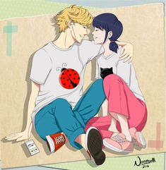 Adrien and Marinette sharing some tunes (by norangelll, Miraculous Ladybug, Adrinette)