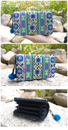 Boho Ethnic Purse - Embroidery Wallet - Geometric Purse - Hmong Wallet - Tribal Purse ( FREE SHIPPING WORLDWIDE )