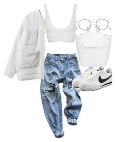 """""""Untitled #21556"""" by florencia95 ❤ liked on Polyvore featuring Levi's, Mansur Gavriel, Cushnie Et Ochs, Ahlem and NIKE"""