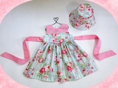 18 month pink and blue floral dress easter dress by LizzyBethBaby