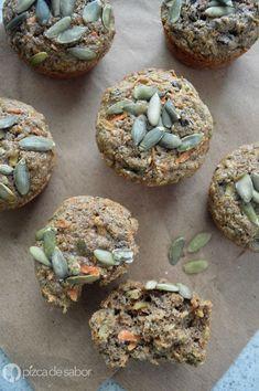 Cómo hacer muffins 100% integrales (deliciosos y suavecitos) con linaza, chía, zanahoria y manzana www.pizcadesabor.com