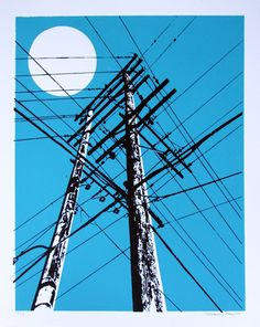 Power Lines Screen Print by miriamdema on Etsy