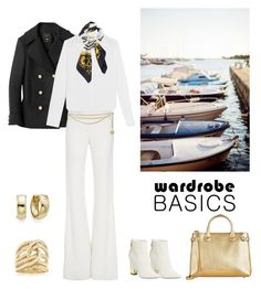 """Spring Jacket: Navy Chic"" by dezaval ❤ liked on Polyvore featuring Balmain, J.Crew, Brandon Maxwell, Hermès, Burberry, Giuseppe Zanotti, Chanel, Ross-Simons and wardrobebasics"