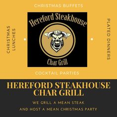 At the Hereford Steakhouse Char Grill not only do we grill a mean steak, but we also host mean Christmas parties!  Cocktail parties, Christmas Buffets, Plated Dinners or lunches with all the trimmings.   If you are organising your end of year function give us a call on 02 6732 2255 to find out how we can help. Celebrate in style this Christmas at the Hereford Steakhouse Char Grill.