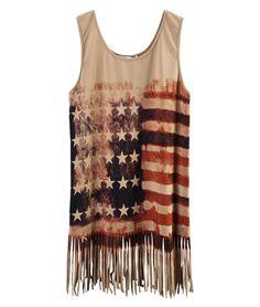 Khaki Rust Star Striped Flag Print Tassel Tank Top