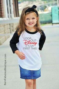 "Disney Family Shirts  ""Look Out Disney It's My First Time"" Disney Land Disney World Kids Raglan Style T-Shirt First Disney Trip by BornFabulousKids on Etsy https://www.etsy.com/listing/498745503/disney-family-shirts-look-out-disney-its"