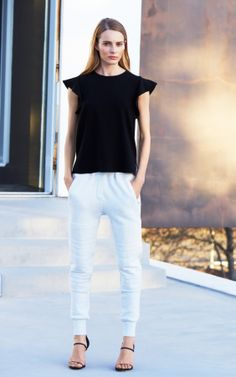 Chaplin Blouse by Babaton, Anissa Pant* by Wilfred Free. What Women Want, Clean Slate, Sartorialist, Sporty Chic, Grey And White, White Jeans, Casual Dresses, Personal Style, Dressing