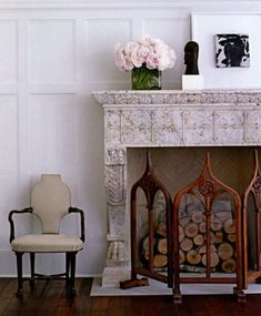 An opportunity for a lovely vignette on this marble mantle #darrylcarter