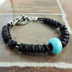 Black Leather Bracelet for Men Blue Magnesite Handmade Mens Jewelry