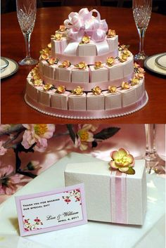 Favor Boxes and Centerpiece. What a beauty! 3 tiers of cake slice boxes tied cross ways with two-tone satin ribbon and embellished with a blossom. Topper is big fluffy double layered satin and organza ribbon bow. Encircle layers with ribbon and pearl bands to gussy it up. Very nice!